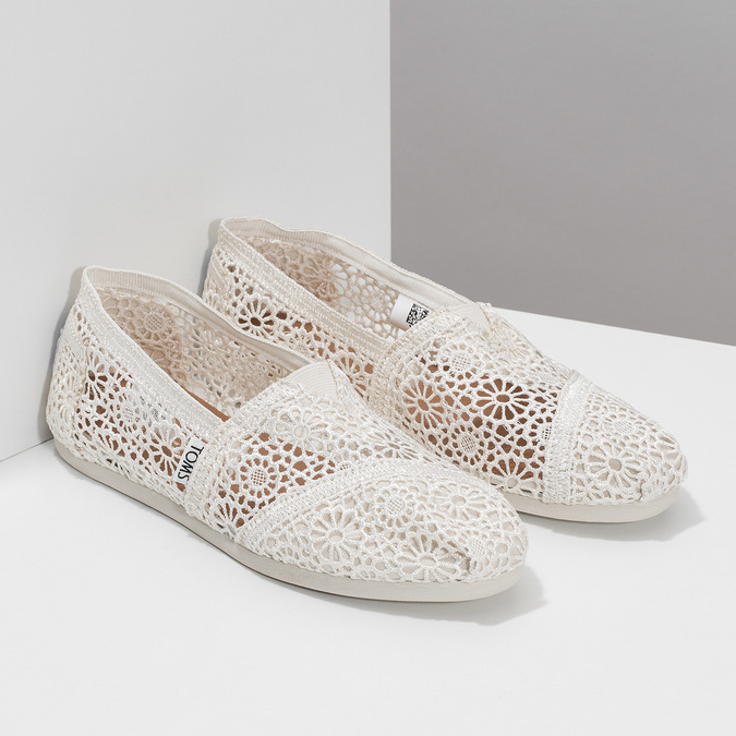 Lace slip-ons toms, beige , 519-1100 - 26