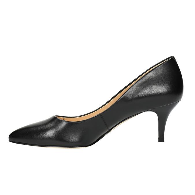 Ladies' leather pumps bata, black , 624-6630 - 26