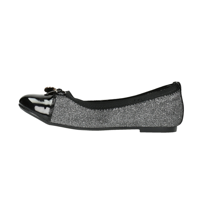 Girl's silver ballerinas with shiny toe cap mini-b, gray , 329-2166 - 26