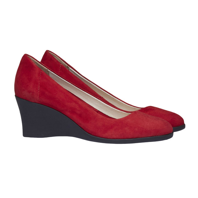 Leather wedge pumps flexible, red , 623-5395 - 26