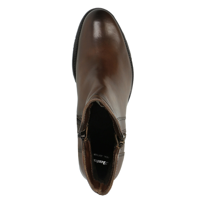 Leather ankle boots with zippers bata, brown , 694-4600 - 19