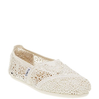 Lace slip-ons toms, white , 519-1100 - 13