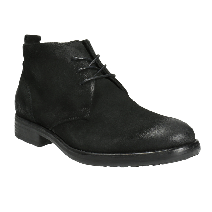 Brushed leather ankle boots bata, black , 846-9611 - 13