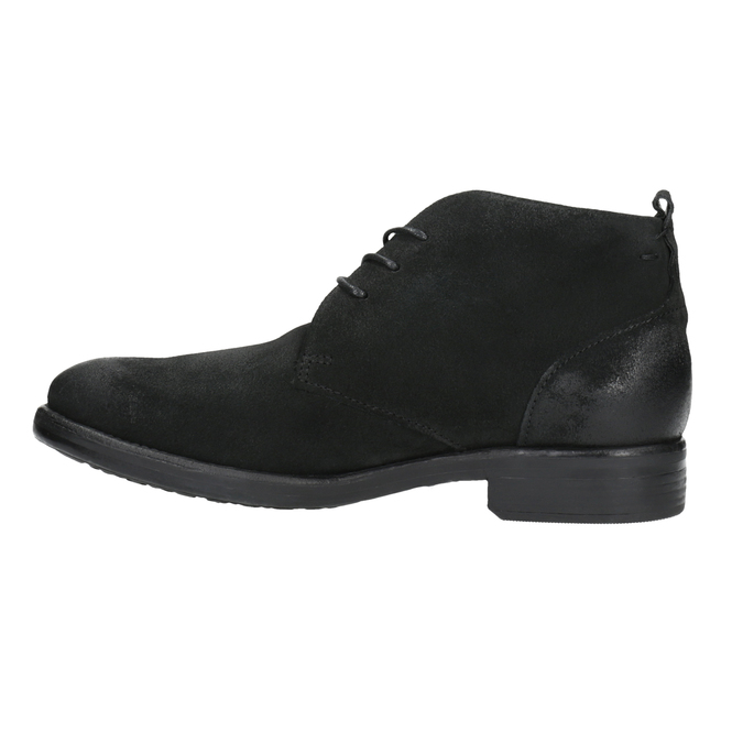 Brushed leather ankle boots bata, black , 846-9611 - 26