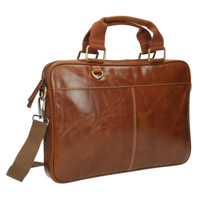 Men's brown leather satchel bata, brown , 964-3204 - 13