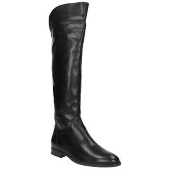 Ladies' leather knee-high boots bata, black , 594-6605 - 13
