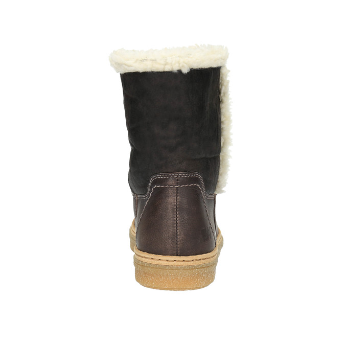 Leather winter shoes with fur weinbrenner, brown , 596-8628 - 17