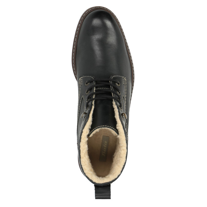 Leather winter shoes bata, black , 894-6642 - 19