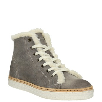 Leather ankle-cut sneakers with fur weinbrenner, gray , 596-2627 - 13