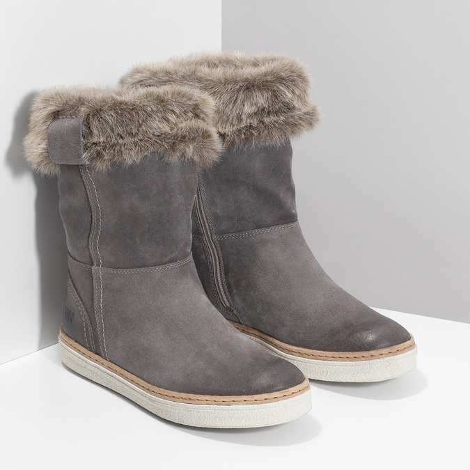 Leather winter shoes with fur, gray , 596-2633 - 26