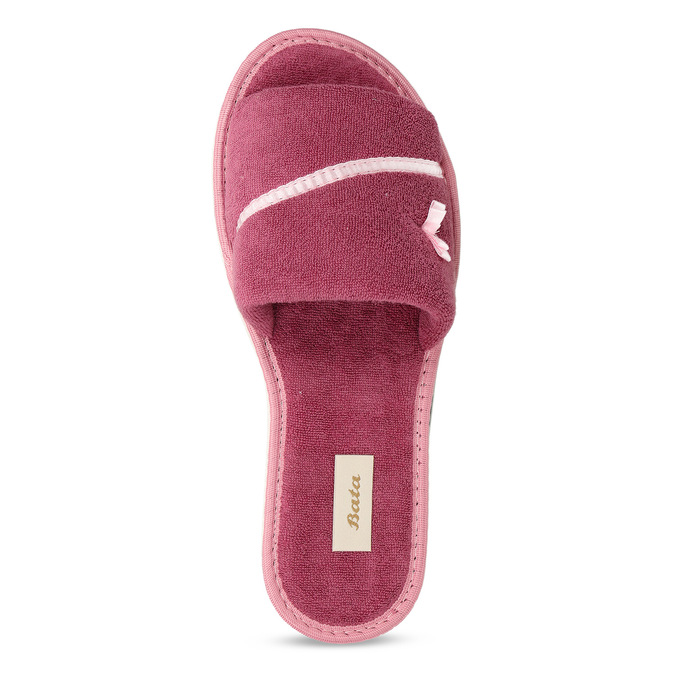 Ladies' slippers with bow, pink , 579-5609 - 17