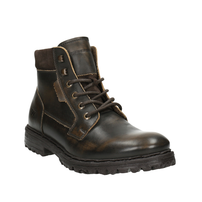 Men´s leather ankle-cut footwear weinbrenner, brown , 896-4110 - 13