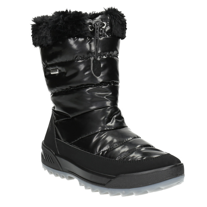 Black snow boots with fur weinbrenner, black , 591-6617 - 13