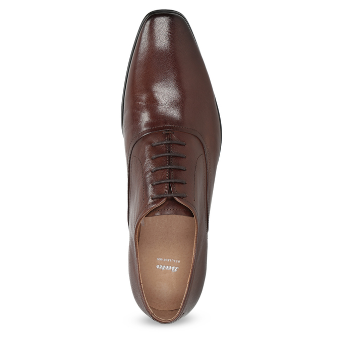 Brown leather Oxford shoes bata, brown , 826-3808 - 17
