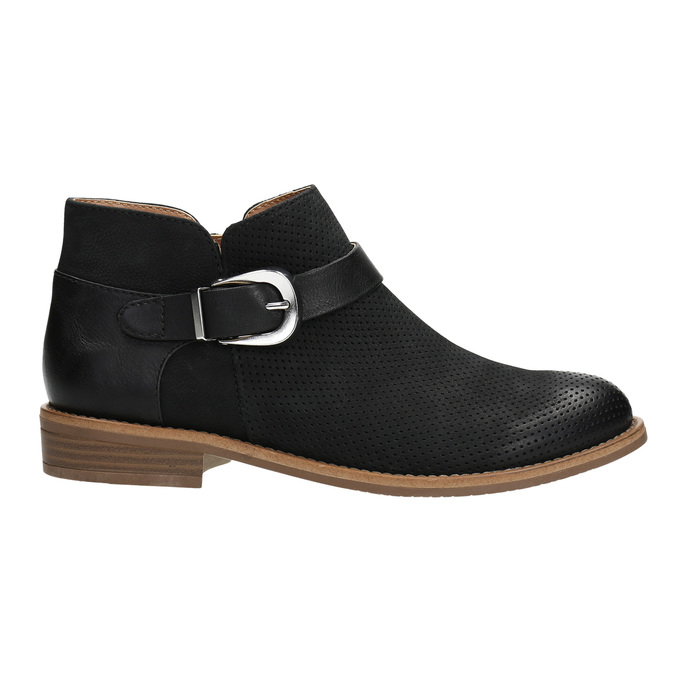 Leather ankle boots with buckle bata, black , 596-6634 - 15