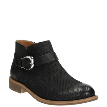 Leather ankle boots with buckle bata, black , 596-6634 - 13
