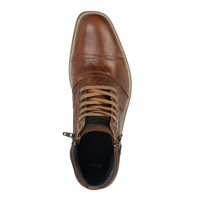 Leather ankle boots with zips bata, brown , 894-3684 - 19