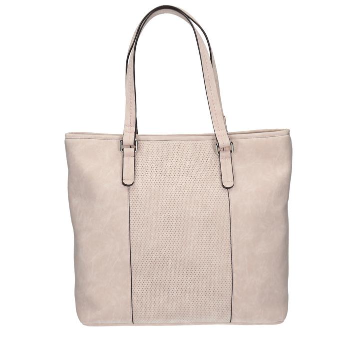 Pink handbag with perforated detail bata, pink , 961-5711 - 26