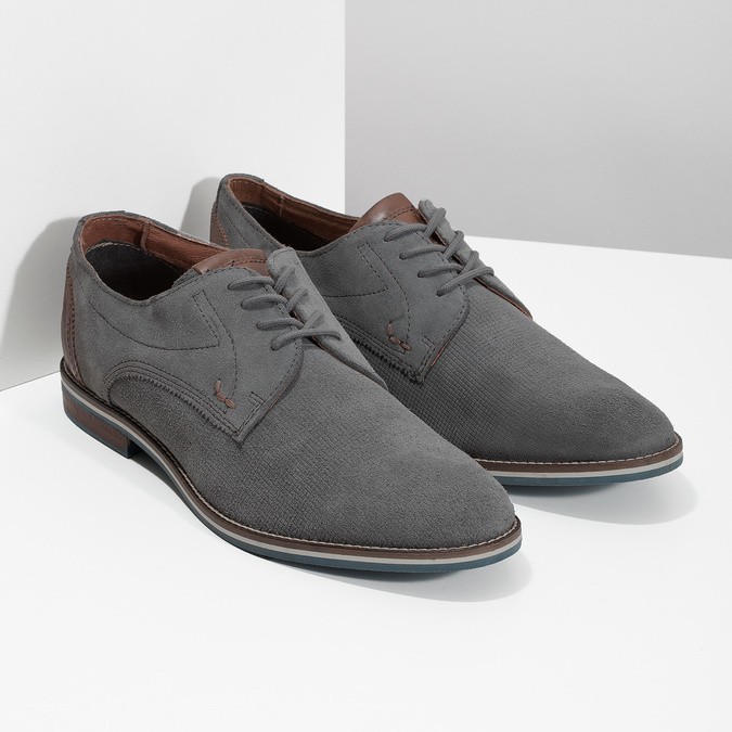 Casual grey leather shoes bata, gray , 823-2600 - 26