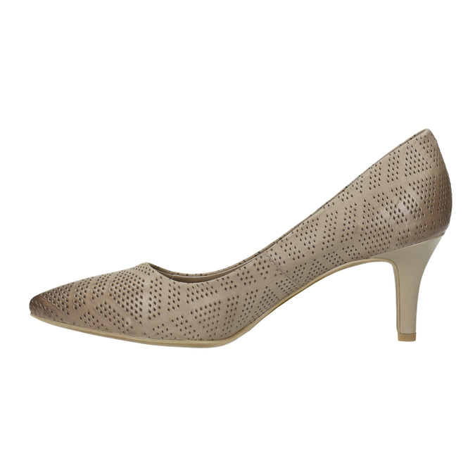 Ladies´ pumps with perforations pillow-padding, beige , 626-2636 - 26