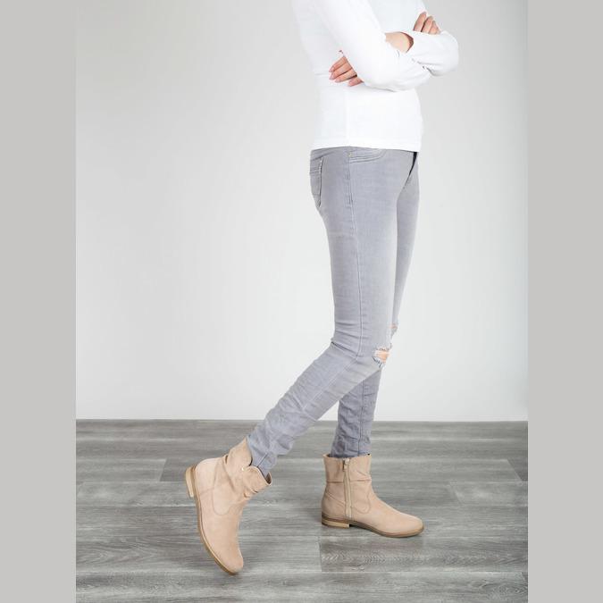 Ladies' high ankle boots bata, beige , 599-8614 - 18