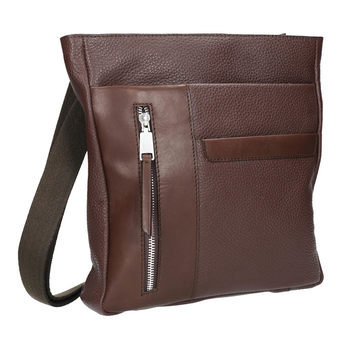 Men's leather crossbody bag bata, brown , 964-4230 - 13