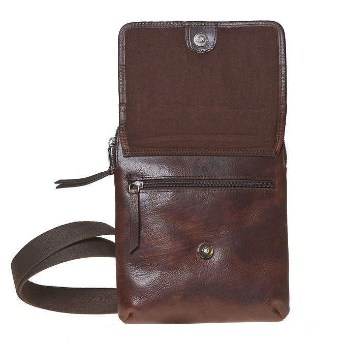 Leather crossbody bag, brown , 964-4237 - 17