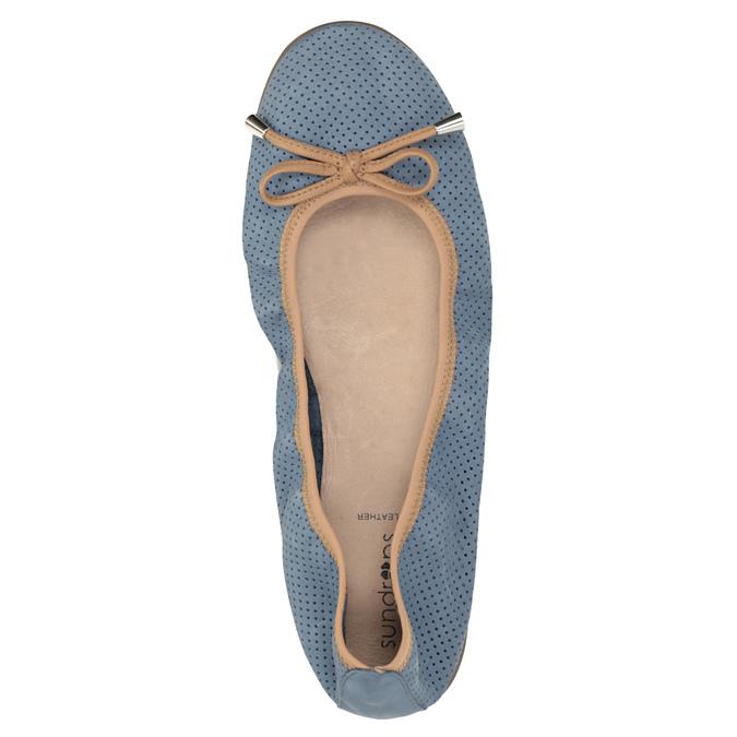 Blue leather ballet pumps with flexible topline bata, blue , 526-9617 - 19