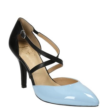Leather pumps with straps across instep insolia, black , 728-9641 - 13