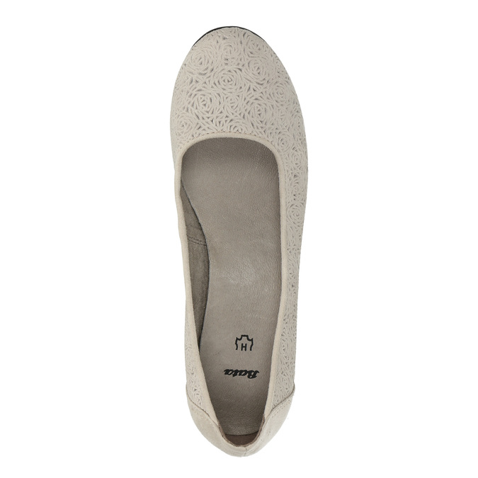 Leather pumps width H bata, gray , 623-2602 - 19