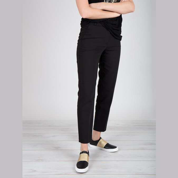 Black sneakers with gold stripe north-star, black , 511-6602 - 18