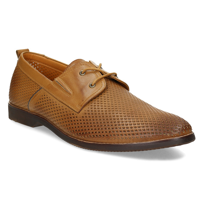 Casual leather shoes with perforations bata, brown , 856-3601 - 13