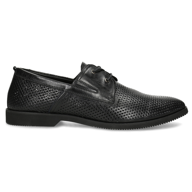 Leather shoes with perforations, black , 854-6601 - 19