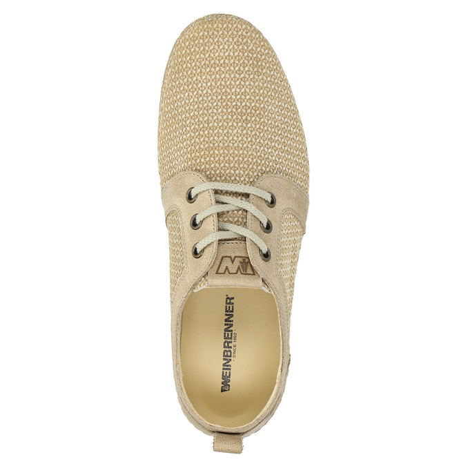Casual leather shoes weinbrenner, beige , 523-2475 - 19