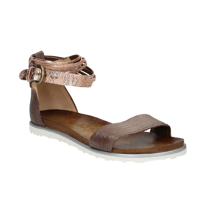 Ladies' leather sandals bata, brown , 566-4603 - 13