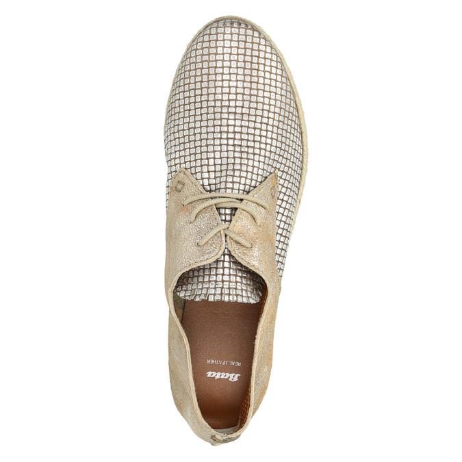 Ladies' leather shoes bata, beige , 526-8629 - 19
