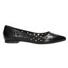 Pointed leather ballet pumps bata, black , 524-6604 - 15
