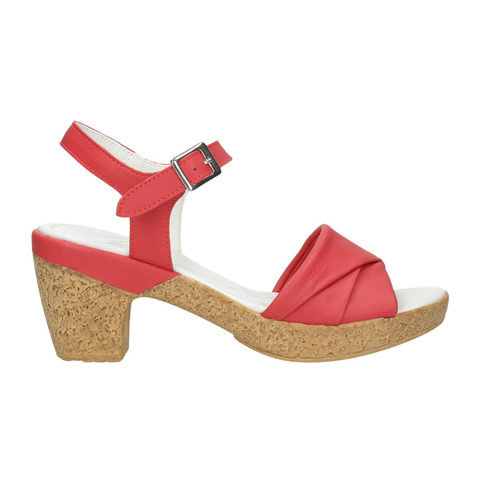 Low-heel leather sandals bata-touch-me, red , 666-5203 - 15