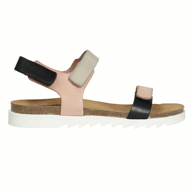 Ladies' leather sandals with Velcro fasteners weinbrenner, pink , 566-3630 - 15