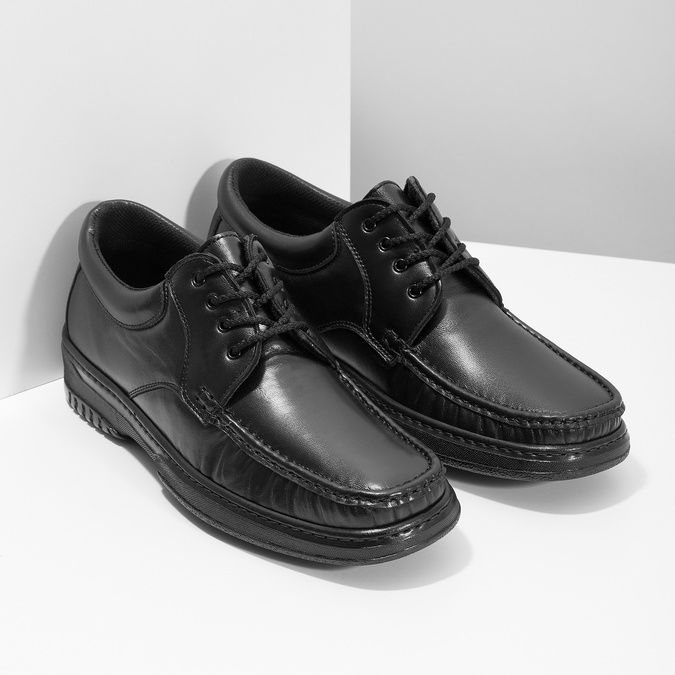 Men's shoes with stitching, black , 824-6542 - 26