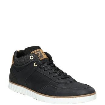 Men's leather high-top sneakers bata, black , 846-6641 - 13