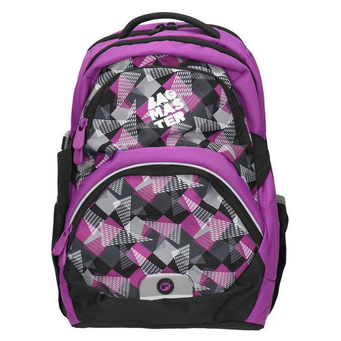 School backpack with print bagmaster, violet , 969-5656 - 26