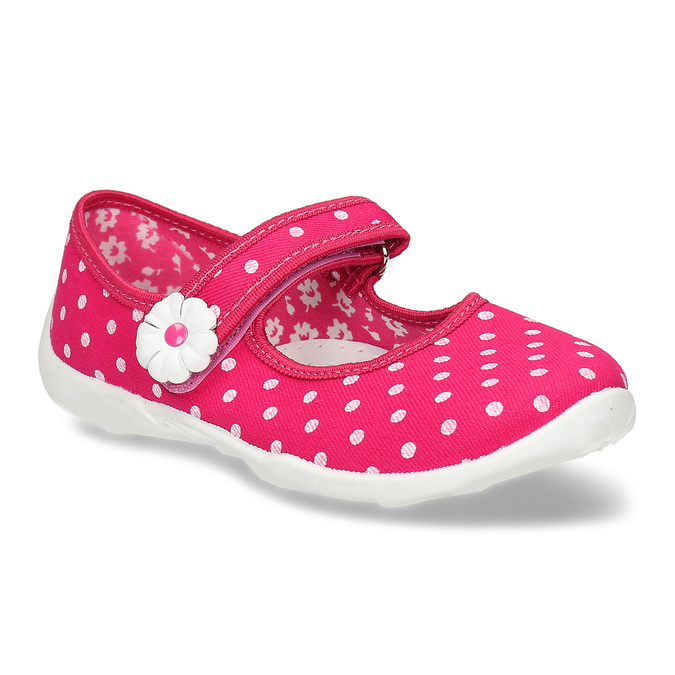 House slippers with polka dots mini-b, pink , 379-5214 - 13