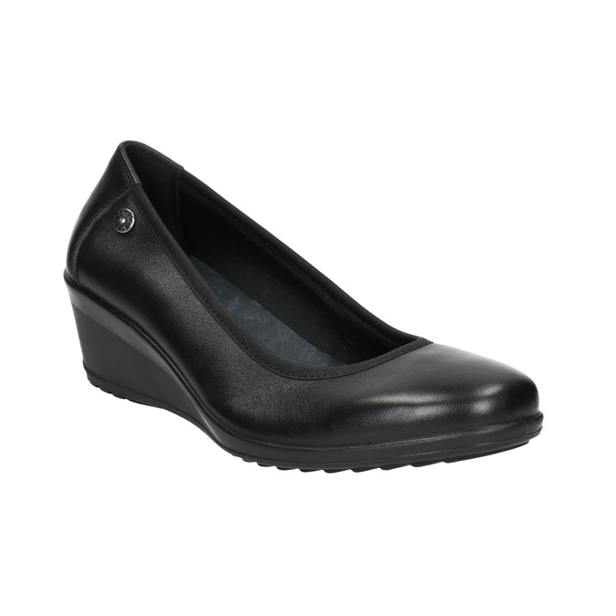 Leather pumps on a wedge heel comfit, black , 626-4643 - 13