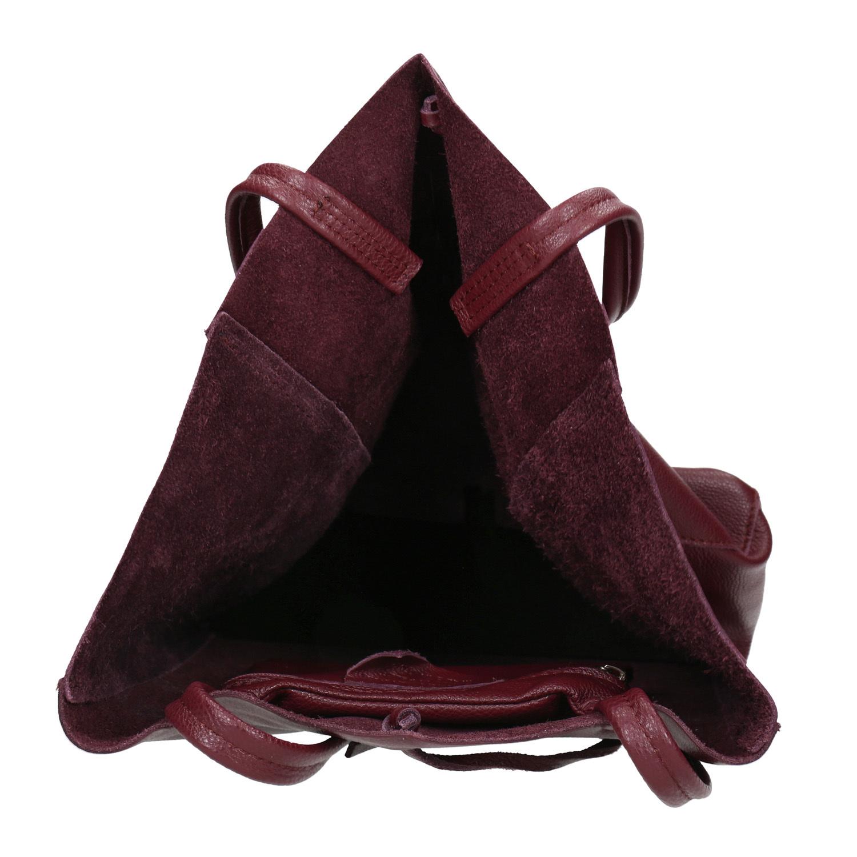 Bata Burgundy leather Shopper handbag - Leather Handbags  8c5572033ed4f
