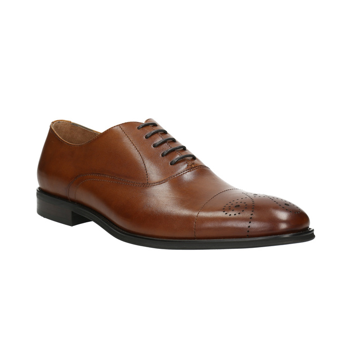 Leather Oxford shoes with decoration bata, brown , 826-3690 - 13