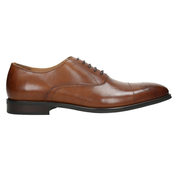 Leather Oxford shoes with decoration bata, brown , 826-3690 - 15