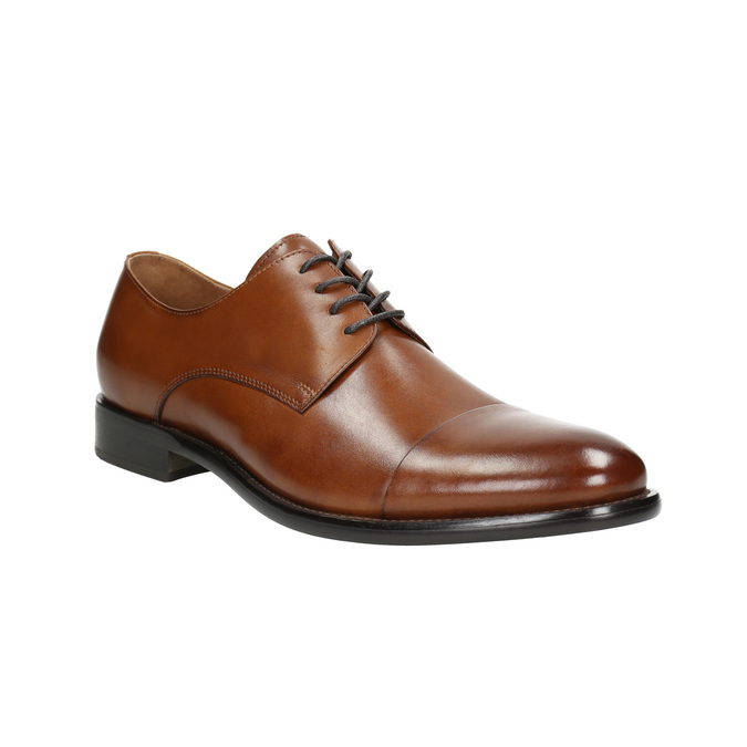 Brown leather Derby shoes bata, brown , 826-3682 - 13