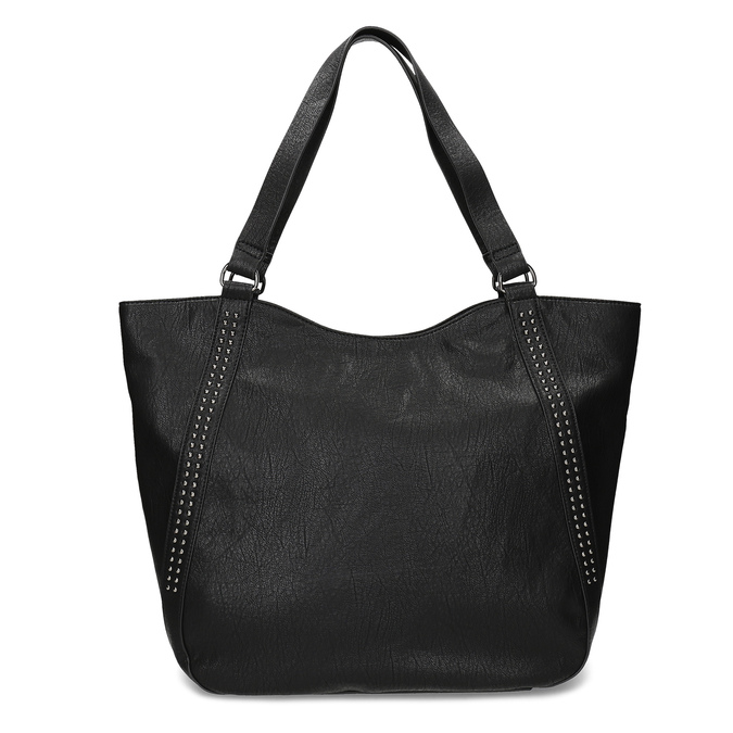 Black studded handbag bata, black , 961-6787 - 26