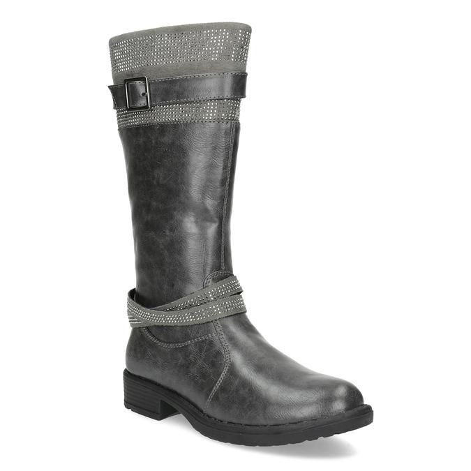 Girls' High Boots with Rhinestones mini-b, gray , 391-2655 - 13